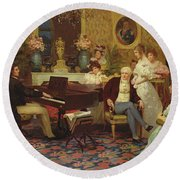 Chopin Playing The Piano In Prince Radziwills Salon Round Beach Towel