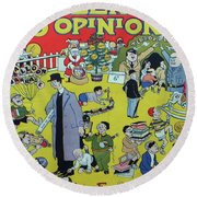Round Beach Towel featuring the painting Christmas 1938 Dublin Opinion by Misc
