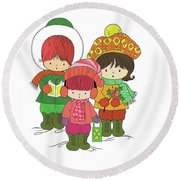 Christmas Angels Round Beach Towel