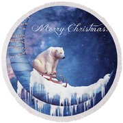 Christmas Card With Moon And Bear Round Beach Towel