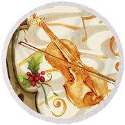 Christmas Music II Round Beach Towel