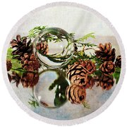 Round Beach Towel featuring the photograph Christmas Thoughts by Randi Grace Nilsberg