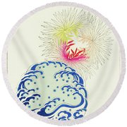 Chrysanthemum And  Wave - Japanese Traditional Pattern Design Round Beach Towel