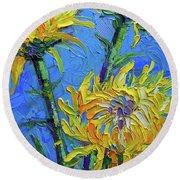 Chrysanthemums On Blue Palette Knife Impasto Oil Painting Mona Edulesco Round Beach Towel