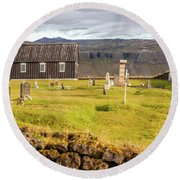 Church Cemetery Of Iceland Round Beach Towel