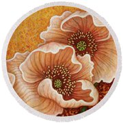 Round Beach Towel featuring the painting Citrine Glow by Amy E Fraser