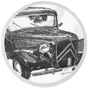 Citroen 11b 1956, Classic Car, Ink Drawing, Office Decoration Round Beach Towel