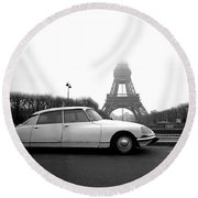 Round Beach Towel featuring the photograph Citroen by Jim Mathis