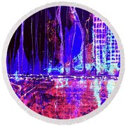 City By The Sea L Round Beach Towel