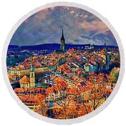 Round Beach Towel featuring the photograph City Of Bern Riverfront From Rose Garden Switzerland by Tom Jelen