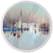 City Of Pastels Round Beach Towel