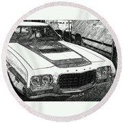 Classic Ford Sketch Round Beach Towel