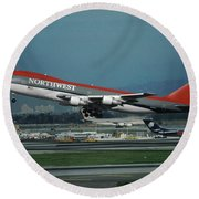 Classic Northwest Airlines Boeing 747 Round Beach Towel