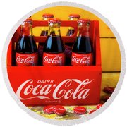 Classic Six Pack Of Cokes Round Beach Towel