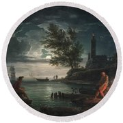 Claude-joseph Vernet - The Four Times Of Day- Night Round Beach Towel