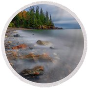 Round Beach Towel featuring the photograph Clearing Storm At Owl's Head by Rick Berk
