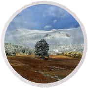 Round Beach Towel featuring the photograph Clearing Storm by Dan Miller