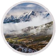 Round Beach Towel featuring the photograph Clearing Storm by TL Mair