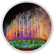 Cleveland Baseball Fireworks Awesome Round Beach Towel