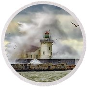 Cleveland Lighthouse Storm  Round Beach Towel