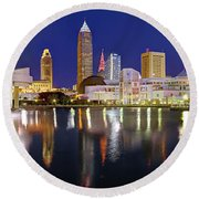 Cleveland Skyline At Dusk Rock Roll Hall Fame Round Beach Towel