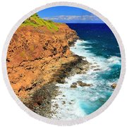 Cliff On Pacific Ocean Round Beach Towel