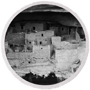 Round Beach Towel featuring the photograph Cliff Palace In Black And White by Jon Burch Photography