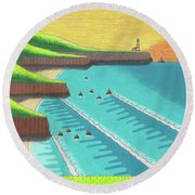 Cliffside Sunset  Round Beach Towel
