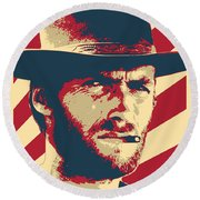 Clint Eastwood Blondie Retro Propaganda Round Beach Towel