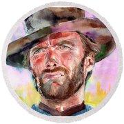 Clint Eastwood Portrait Round Beach Towel