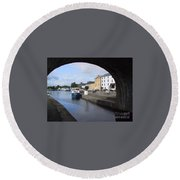 Round Beach Towel featuring the painting Cloondara,a Shannon By Way. by Val Byrne