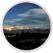 Cloud Lens Over The Presidential Range Round Beach Towel