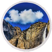 Clouds Abover Upper Yosemite Fall Round Beach Towel