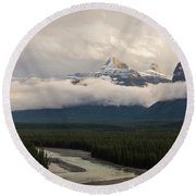 Round Beach Towel featuring the photograph Clouds In The Valley by Alex Lapidus