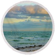 Clouds Over Sanibel Beach Round Beach Towel