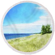 Clouds Over Shoreline Round Beach Towel