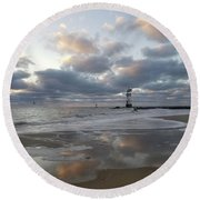 Cloud's Reflections At The Inlet Round Beach Towel