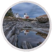 Cloudy Afternoon At Pemaquid Point Round Beach Towel