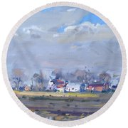 Cloudy Day At The Farm Round Beach Towel