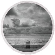 Cloudy Morning Rough Waves Round Beach Towel
