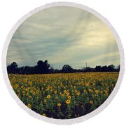 Round Beach Towel featuring the photograph Cloudy Sunflowers by Candice Trimble