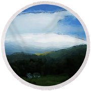 Cloudy View Painting Round Beach Towel