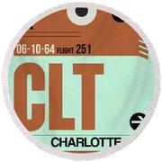 Clt Charlotte Luggage Tag I Round Beach Towel