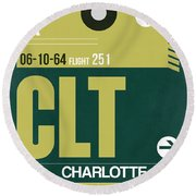 Clt Charlotte Luggage Tag II Round Beach Towel