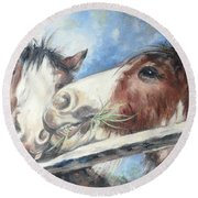 Clydesdale Pair Round Beach Towel