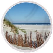 Round Beach Towel featuring the photograph Coast Ameland by Anjo Ten Kate