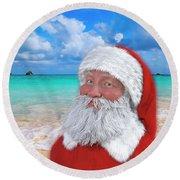 Coastal Christmas Greetings Design 1 Round Beach Towel