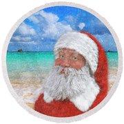 Coastal Christmas Greetings Design 2 Round Beach Towel