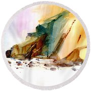 Coastal Cliffs Round Beach Towel