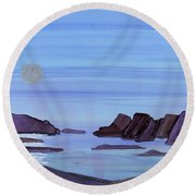 Coastal Moon Round Beach Towel